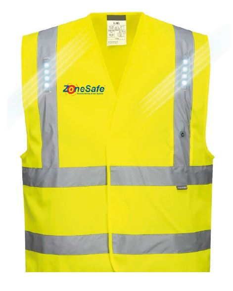 PEDD Integrated into Hi-Viz workwear with embedded LED's and vibration alert.